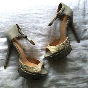 Badgley Mischka Grey Platform Heel with Raffia