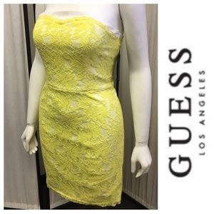 Yellow Lace Strapless Dress By Guess