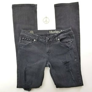 Hurley Black Destroyed Skinny Boot Jean