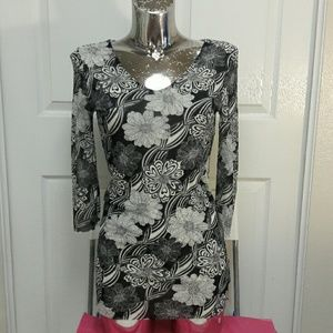 CABI Mesh Black n White Stretchy Floral Top