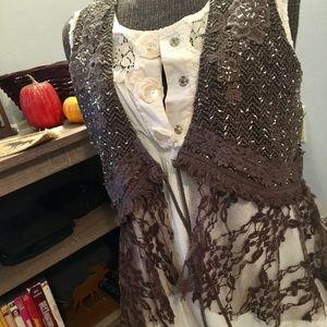 MISS ME Size Small Olive Lace & Sequin Vest