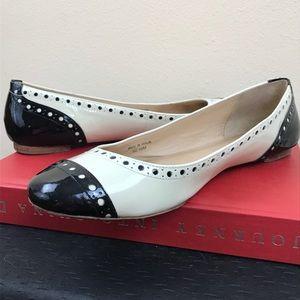 KATE SPADE Tuttie Ballet Flat Cream/Black Patent