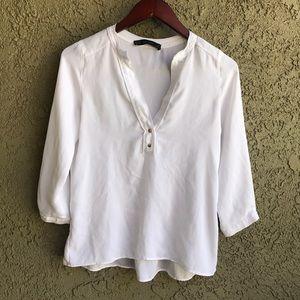 Zara Basic White Half Sleeve Ruffle Work Top sz XS