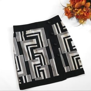 Ann Taylor Geometric Buttoned Wrap Skirt