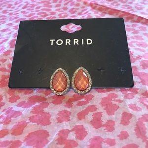 Sparkly Blush Tear Drop Stud Earrings