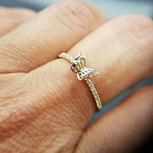 14k Solid Yellow Gold Butterfly Promise Ring