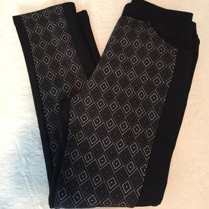 Pants - Black Ponte Knit Pants with Diamond Print in Front