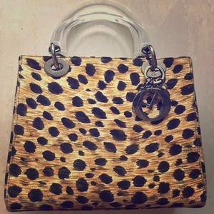 Christian Dior leopard tote w logo tags Authentic