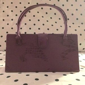 "Handbags - Purple ""mock croc"" triangular hand-held mini purse"