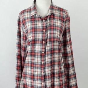 J. Crew cream red green Perfect Plaid fall blouse