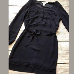 Max Studio Scallop Sheer Long Sleeve Blue Dress