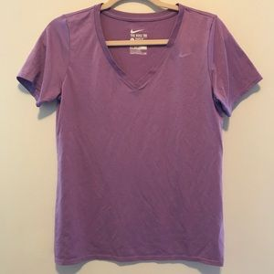 Nike purple v-neck dri-fit workout tee