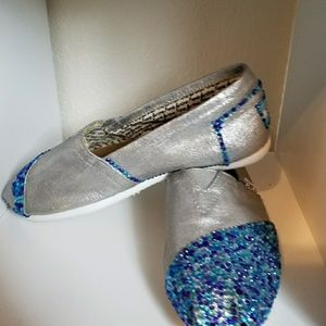 Toms with Swarovski Crystals Blue and Silver 8