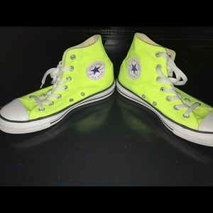 Converse hi top sneakers- neon yellow color