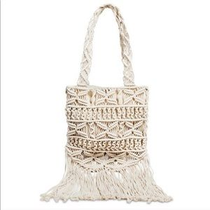 Fringe Macrame Boho Bag in Ivory