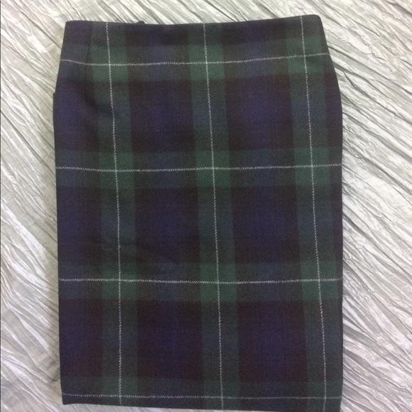 87ed4ed916 Eddie Bauer Dresses & Skirts - Tartan plaid wrap skirt blue green wool plus  size