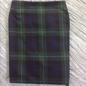 d4d95e4c54 Eddie Bauer Skirts - Tartan plaid wrap skirt blue green wool plus size
