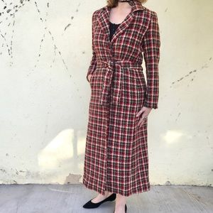 Long TRENCH coat DUSTER POCKETS red plaid belted M
