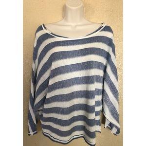 BCBGMAXAZRIA Stripe Blue and White Shirt