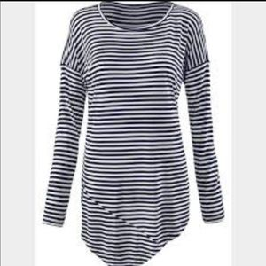 Cabi navy and white striped asymmetric top