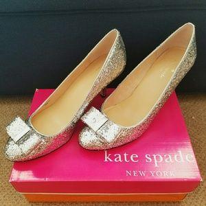 Kate Spade Glitter Bow Heels - Silver 8.5 Like New