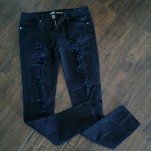 Denim - Distressed black skinny jeans
