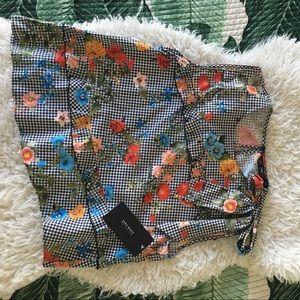 Zara gingham asymmetric top with little ruffles