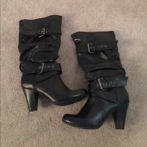 Shoes - Black Buckle Boots