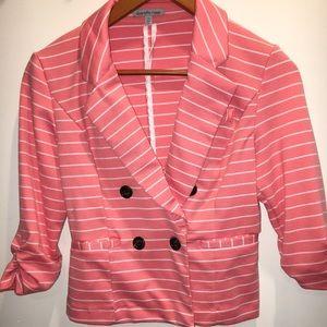 Coral/white striped blazer