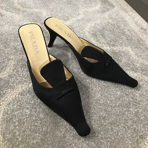 PRADA satin slip on heels