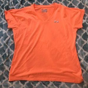 Under Armour Women's Orange Heat Gear Shirt Sz XL