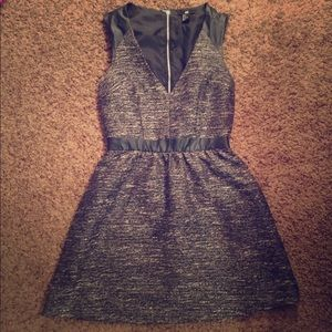 Black and silver a line dress
