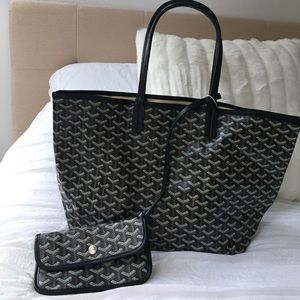 NWT black tote bag with attached wristlet wallet