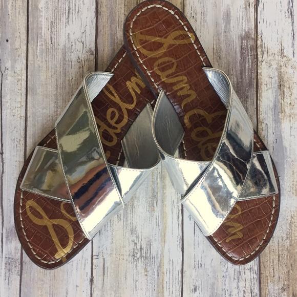 560c0e861e64 Sam Edelman  KORA  Silver Slide Sandal Size 9. M 59c97efbeaf030d0d209074b