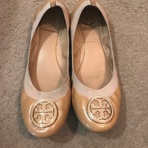 Tory Burch patent leather nude flats. Size 8