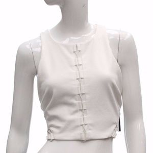 GUESS Mona Lace-Up-Detail Crop Top Ivory L NWT