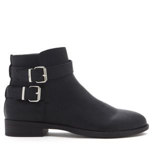 Forever 21 Black Double Buckle Ankle Booties