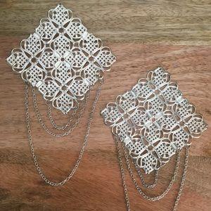 VINTAGE Silvertone Diamond Statement Earrings