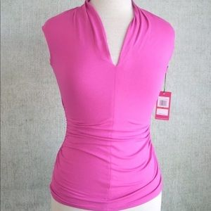 Vince Camuto pink sleeveless ruched v-neck top