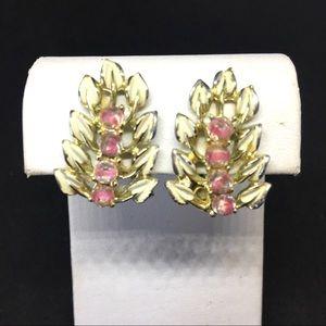 Coro White Leaves & Pink Stone Earrings
