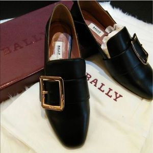 Bally leather flat black