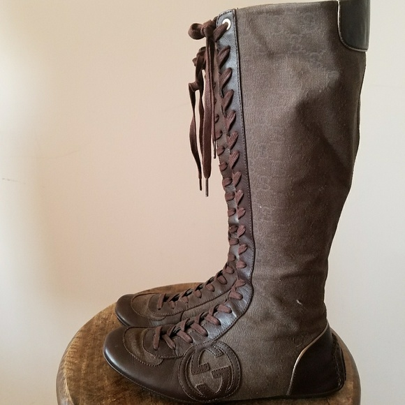 Gucci 36 Brown Canvas Lace Up Knee High