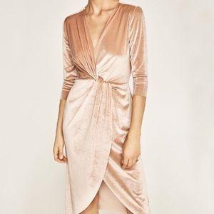 Zara twist front crossover velvet dress