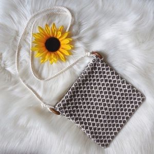 Woven/Knit Crossbody w/ Wood Accent