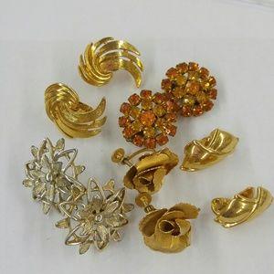 Fall Shades Vtg Clip Earring Lot