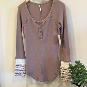FREE PEOPLE thermal Henley sweater cuff