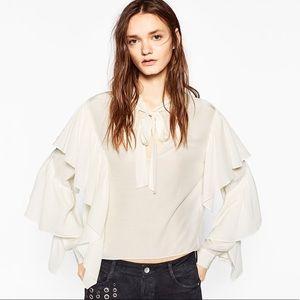 Zara ruffle off white blouse