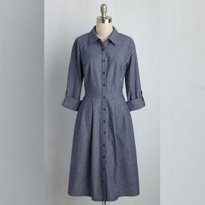 MODCLOTH Broadcast Coordinator ShirtDress chambray