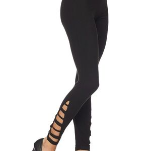 Solid Brushed Cut Out Side Full Leggings
