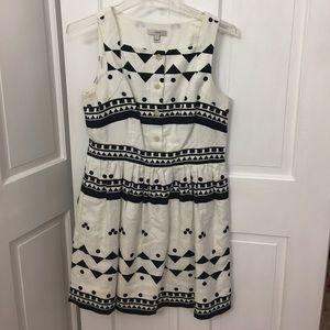 Tribal print smocked waist dress